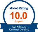 10.0 Superb Rating from AVOO Rating for Being a Top Criminal Defense Attorney